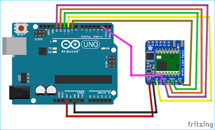 Arduino LoRa Module Connection Circuit Diagram