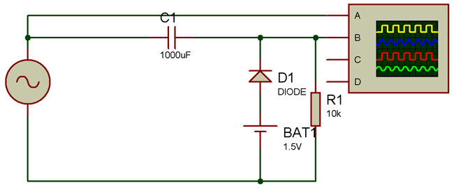 Circuit Diagram for Positive Clamper with positive bias