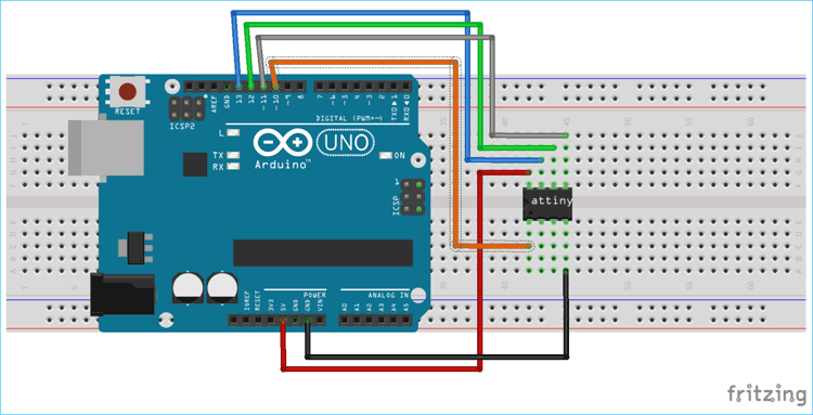 Circuit Diagram for Programming ATtiny13 using Arduino