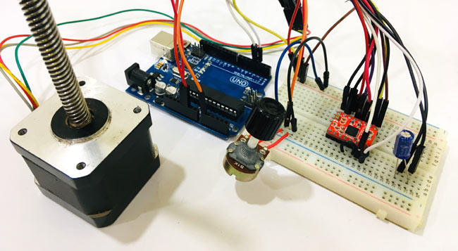 Circuit Hardware for Controlling NEMA 17 Stepper Motor with Arduino and Potentiometer