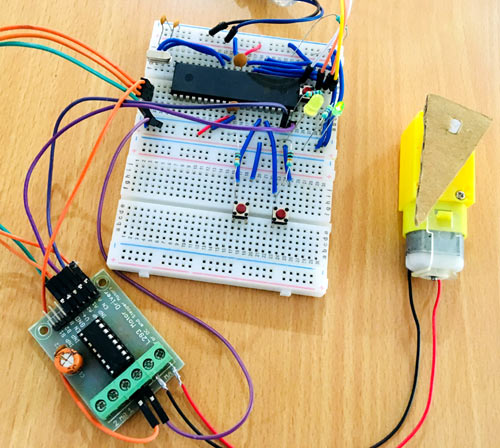 DC Motor with Atmega16 Circuit Connections on Breadboard