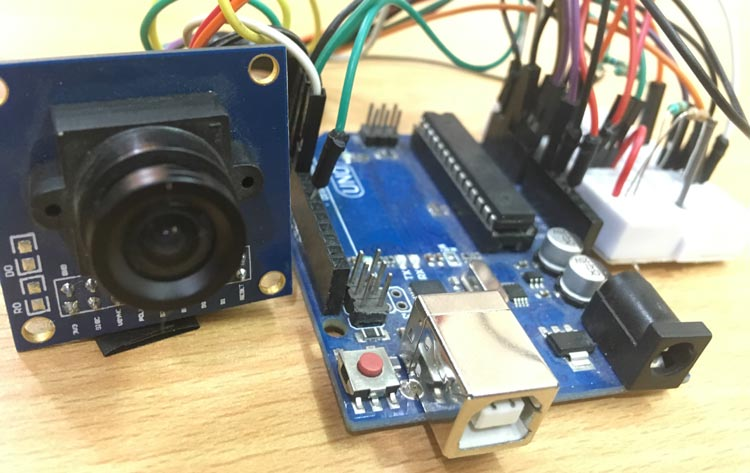 Arduino OV7670 Camera Module Interfacing circuit hardware