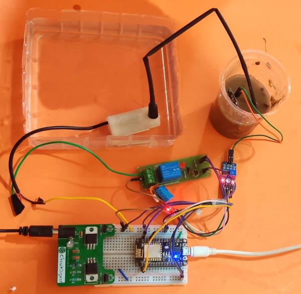 Circuit Hardware for IoT based Smart Irrigation System using Soil Moisture Sensor and ESP8266 NodeMCU