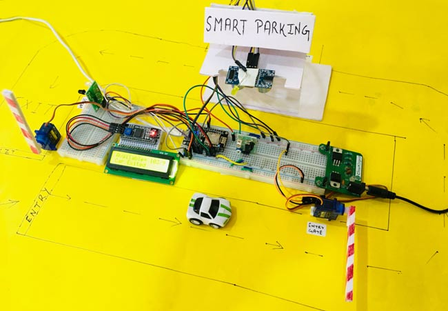 Circuit Hardware for IoT based Smart Parking System using ESP8266 NodeMCU