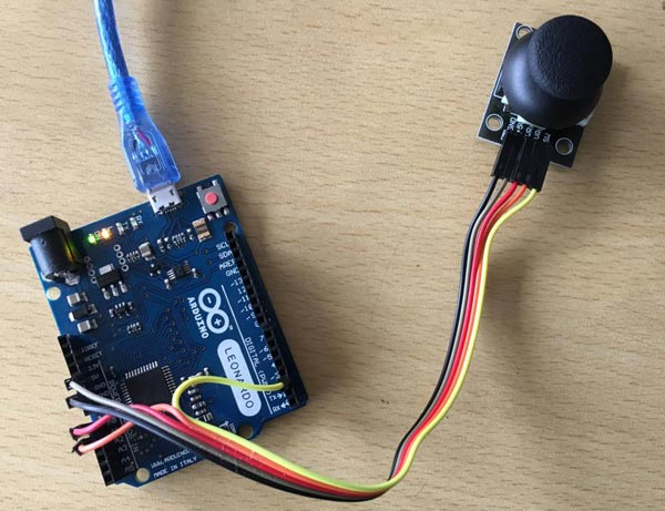 Circuit Hardware for Joystick Game Controller using Arduino Leonardo