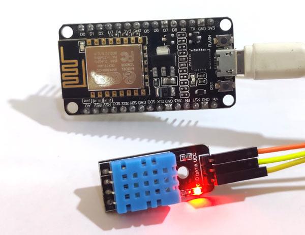 Circuit Hardware for Log Temperature Sensor Data to Google Sheet using NodeMCU ESP8266