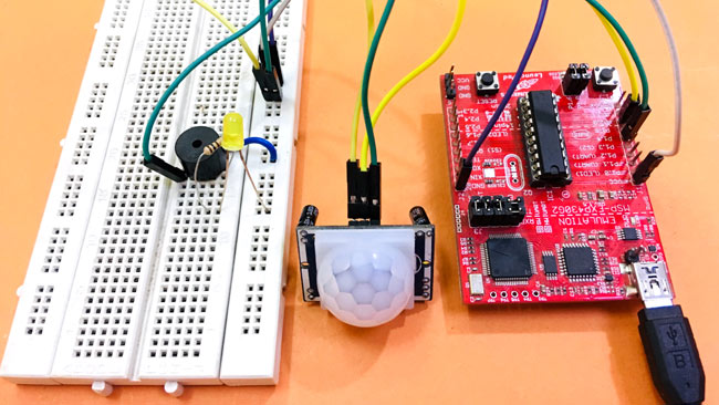 Circuit Hardware for Motion Detector Using MSP430 Launchpad and PIR Sensor