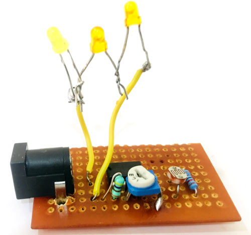 Circuit Hardware for Smart Electronic Candle using LDR
