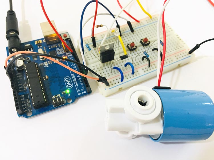 Circuit Hardware for Controlling a Solenoid Valve with Arduino