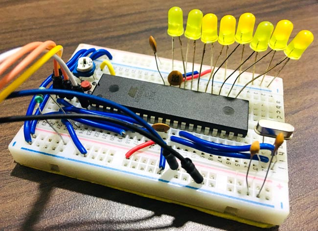 Circuit Hardware for using ADC AVR Microcontroller Atmega16