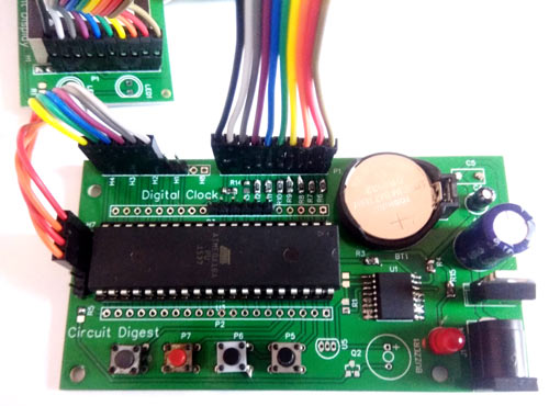 Circuit Hardware for Digital Wall Clock using AVR Microcontroller Atmega16 and DS3231 RTC