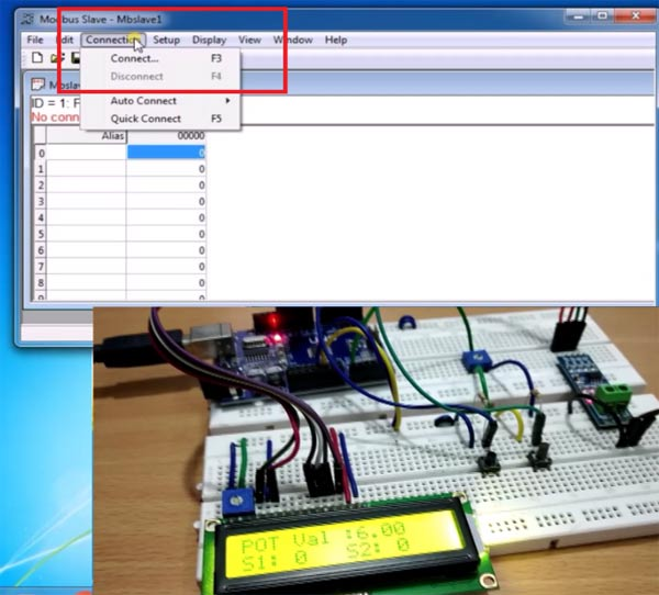Connecting Modebus Slave Tool for Serial Communication