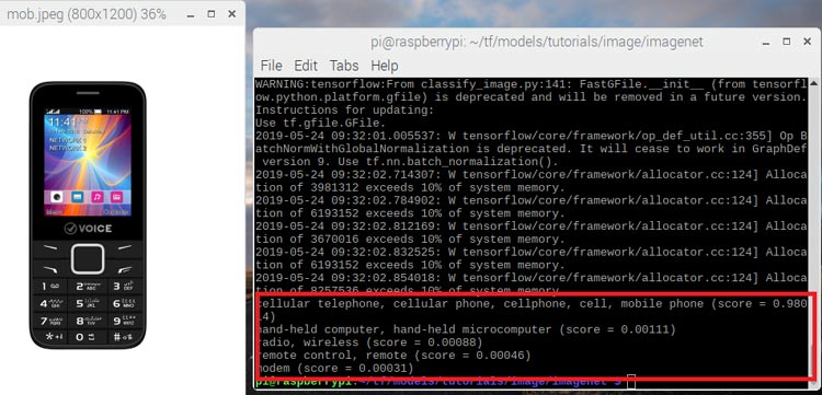 Detecting and Recognizing Phone using TensorFlow and Raspberry Pi