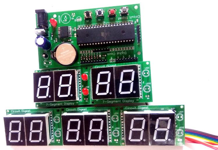 Digital Wall Clock on PCB using AVR Microcontroller Atmega16