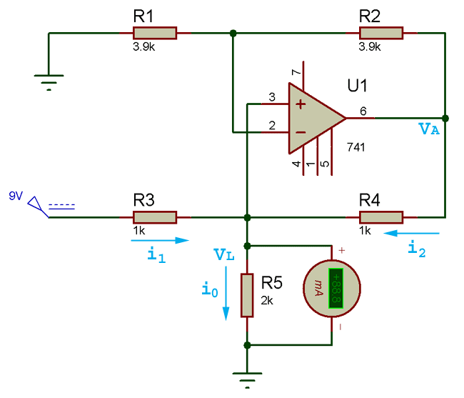 Howland Circuit Current Flow