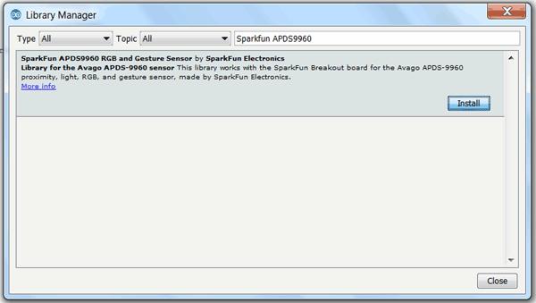 Installing APDS 9960 Sensor Library in Arduino