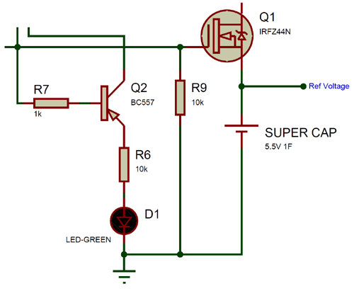 MOSFET and BC557 for Supercapacitor
