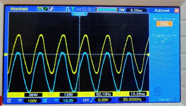 Negative Clamper Circuit Waveform on Oscilloscope