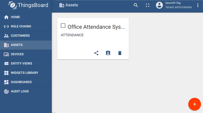 Office Attendance System Assets on Thingsboard