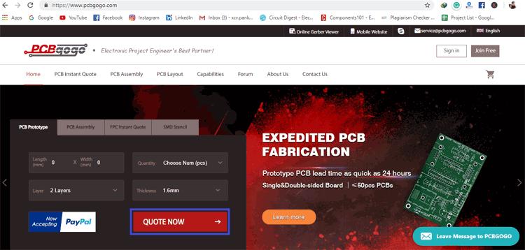 Ordering the PCB using PCBGoGo