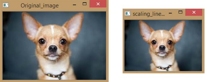 Original Image to Scaling Linear Interpolation Image using Python OpenCV