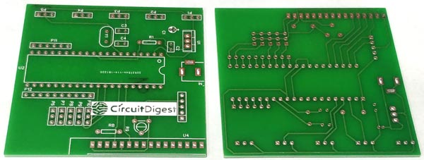 PCB View for Robotic Arm Control using PIC Microcontroller