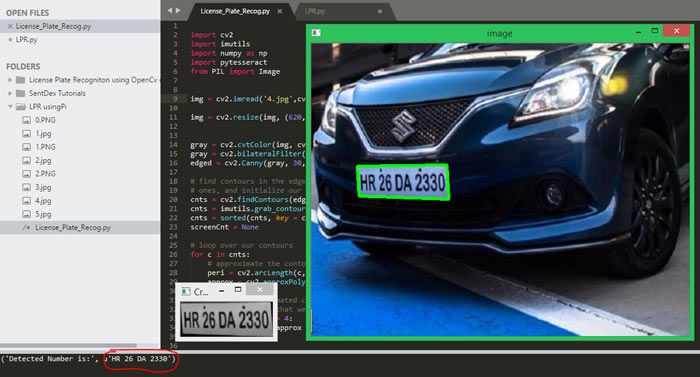 Plate Number Detection from the Image using Image Processing and Pi