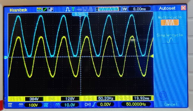 Positive Clamper Circuit Waveform on Oscilloscope
