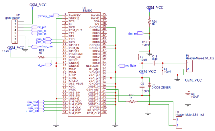 Powering and Communicating with SIM800 IC - Circuit Diagram