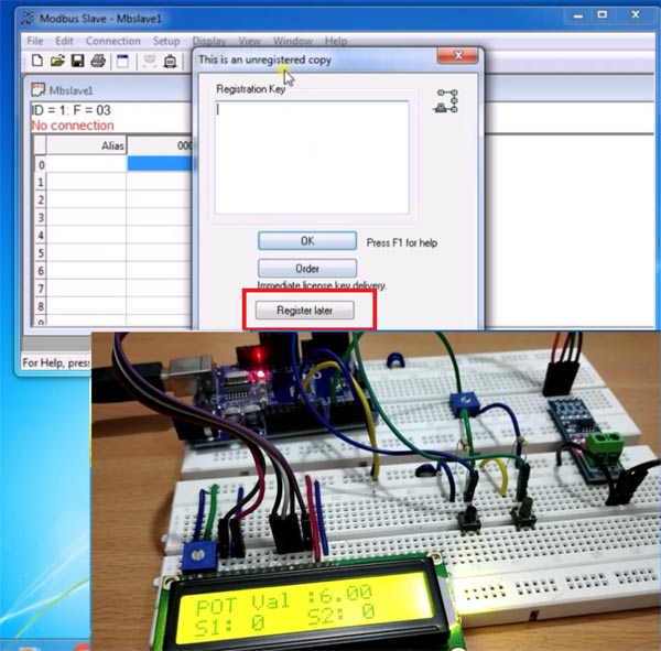Register for full version on Modebus Slave Tool for Serial Communication
