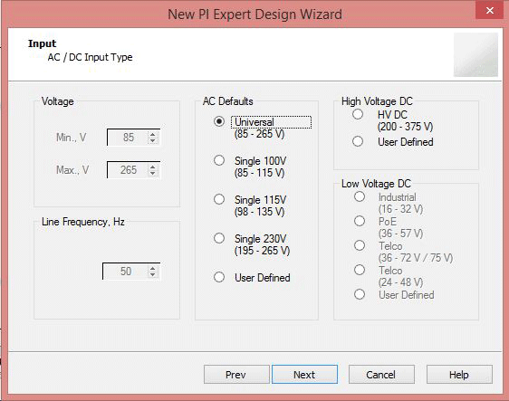 Select Input Voltage Range for SMPS