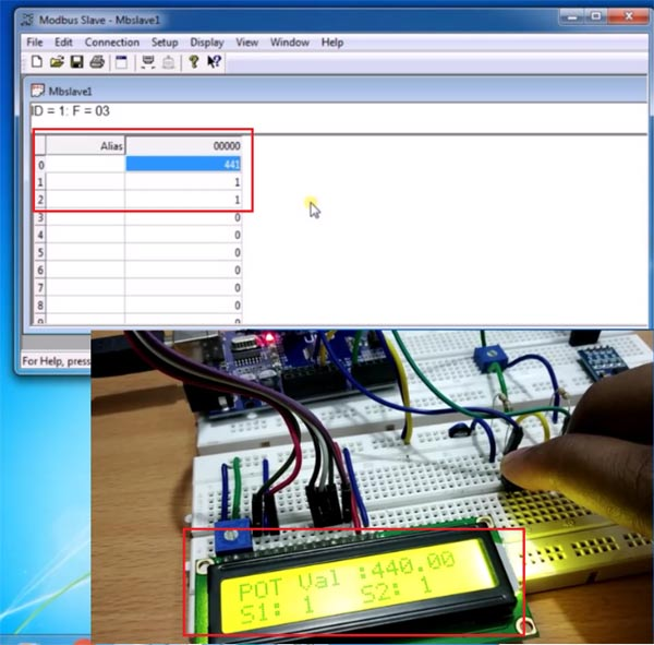 Sending Data using RS485 Serial Communication with Modebus Slave Tool