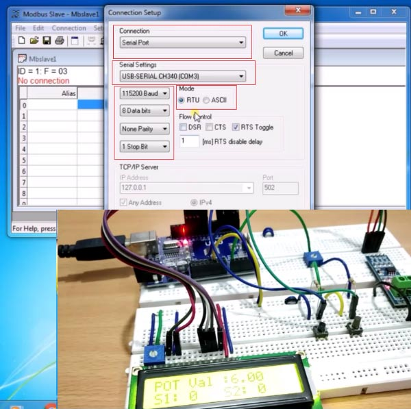 Setup Modebus Slave Tool for RS485 Serial Communicatio