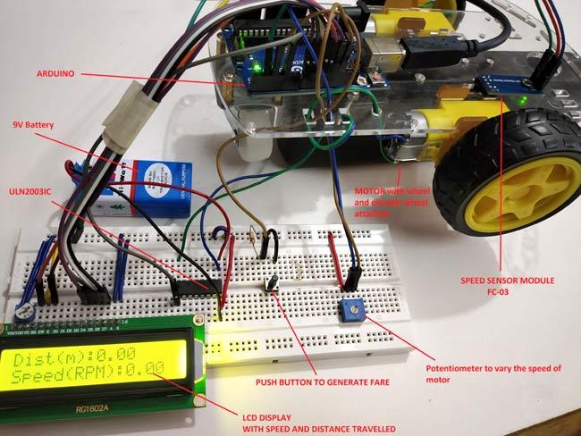 Setup for Digital Taxi Fare Meter using Arduino