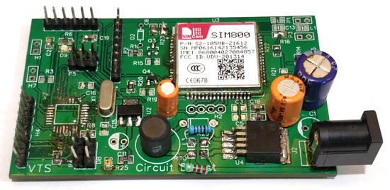 Soldered PCB for GSM Location Tracker