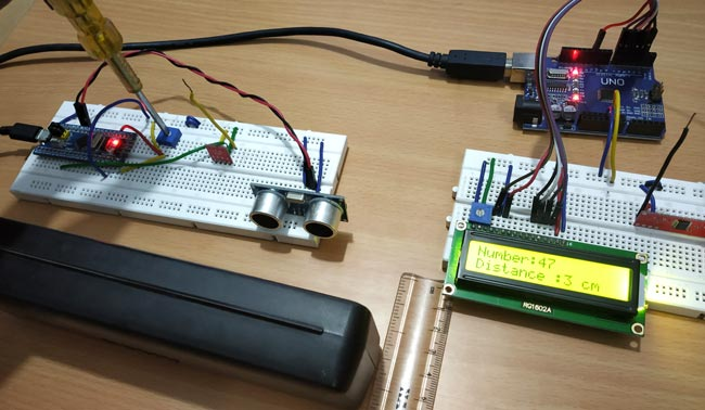 Testing 2 STM 32 based RF Transmitter and Receiver