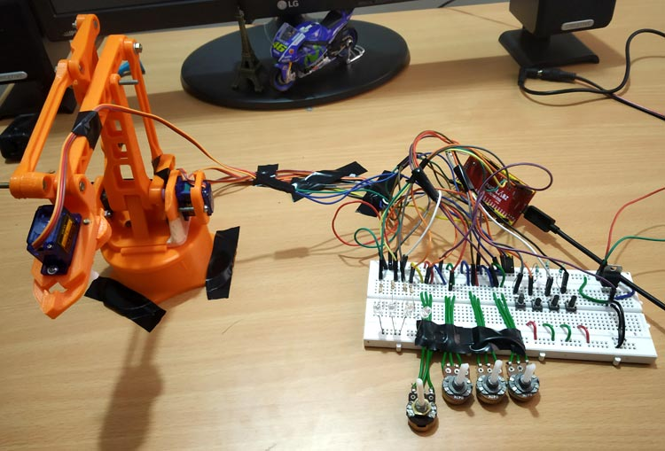 Testing Robotic Arm using ARM7 LPC2148 ARM Microcontroller