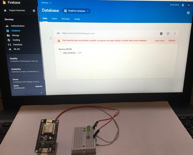 Testing by Controlling LED using Google Firebase Console