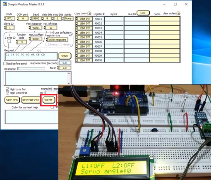 Testing the Arduino UNO as RS485 Modbus Slave