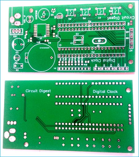 Top and Bottom View of Digital Wall Clock PCB