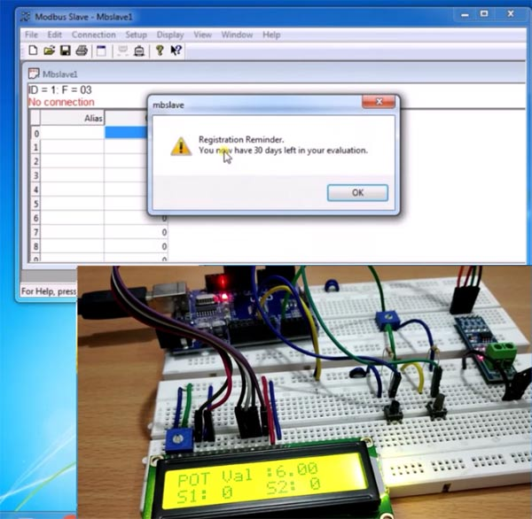 Trial version of Modebus Slave Tool for Serial Communication