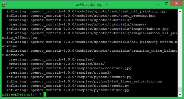 Unzip OpenCV Contrib for Installing OpenCV on Raspberry Pi using CMake