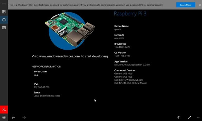 Windows 10 IoT Core device home page