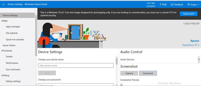 Windows 10 IoT Core Device Setting on Raspberry Pi