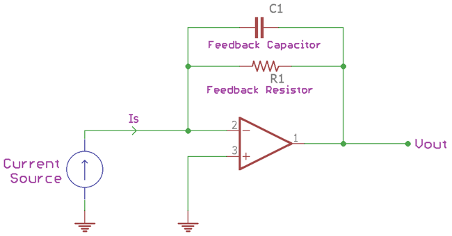Working of Transimpedance Amplifier with Capacitor