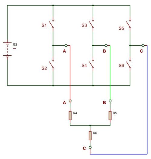 3 Phase Inverter Circuit using Switches