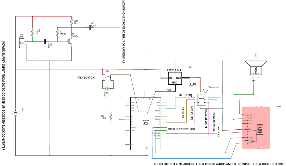 Arduino Walkie Talkie Circuit Diagram