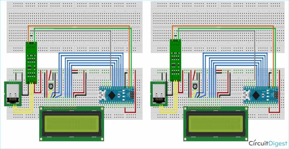 Arduino Wired Communication Circuit Diagram
