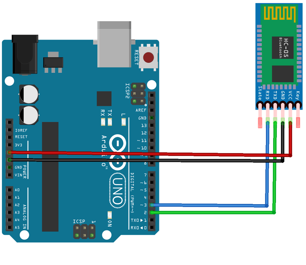 Circuit Connection of Arduino and HC05 module