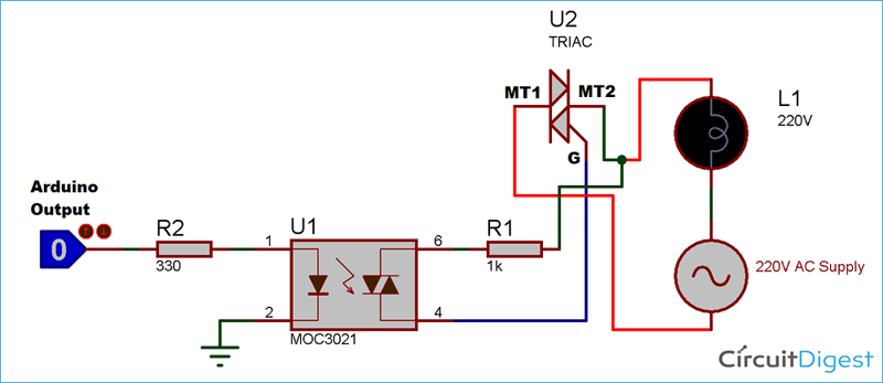 TRIAC and Optocoupler Connection Diagram